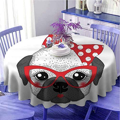 Bulldog - Mantel redondo con diseño de pajarita y gafas de estilo retro, secado rápido, diámetro de 55 pulgadas, color gris y negro