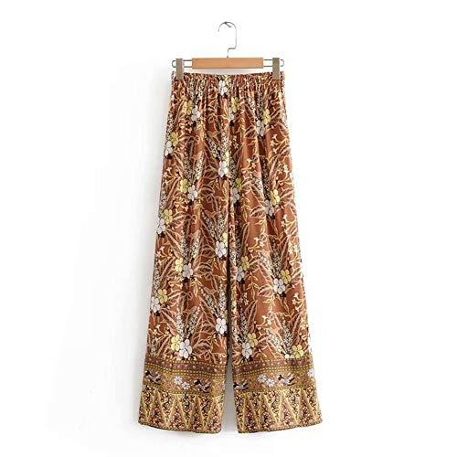 HenShiXin De Las Mujeres Fall Cintura Posicionamiento Cresta De Gallo Impresión Pantalones Pantalones De Pierna Ancha (Color : Orange, Size : M)
