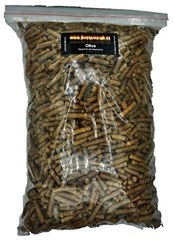 Pellets de madera de olivo para barbacoa, 3 kg, 100% pellets para barbacoa, horno de pellets o ahumador