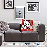 qidong Hello Kitty - Fundas de cojín para sofá, dormitorio, coche, decoración del hogar, 45,7 x 45,7 cm
