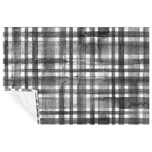 EZIOLY Plaid Grey Cozy Throw Blanket Shawl Leg-Cover Super Fluffy Soft Warm Microfiber Plush Blankets for Bed, Couch, Sofa, Outdoor, Travel, Picnic, Camping(59'x39.3')