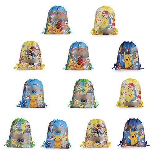YNK Turnbeutel Mitgebsel Kindergeburtstag,12 Stück Ostergeschenkpaket Ostern Geschenktüte Mitbringsel Geschenktaschen Geburtstagsfeier Partytüten Gymsack mit Kordelzüge(6Muster*2) (A)