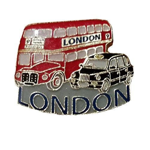 London Bus und Taxi Anstecknadel - Abzeichen aus Metall und Email / Doppeldecker und Schwarzes Taxi / Britisches Souvenir aus England UK