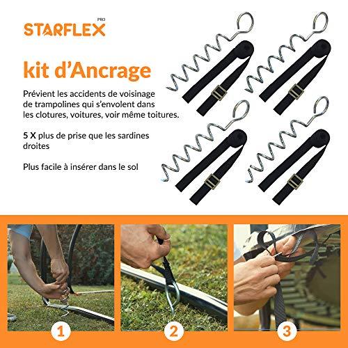 Starflex grondanker voor trampoline, robuust en verzinkt, 4 stuks