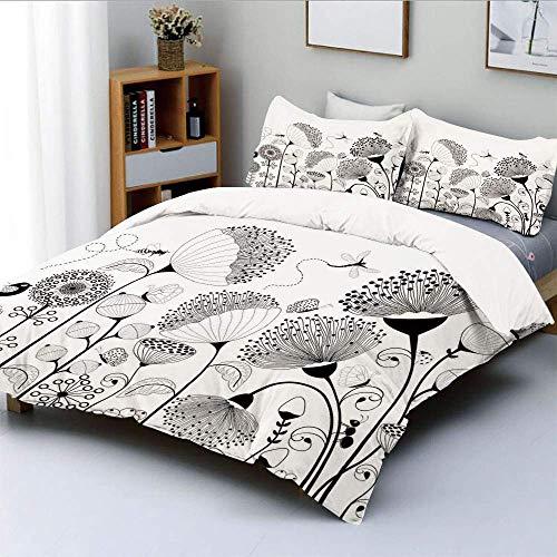 Bettbezug-Set, kleine große blühende Blumen mit Schmetterlingen und Bienen Kreaturen NatureDecorative 3-teiliges Bettwäscheset mit 2 Kissen Sham, schwarz weiß, Kinder & Erwach