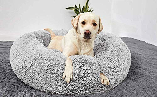QXIAO Deluxe Large Soft Dog Bed Calming Pet Bed for Large Extra Large Pet Donut Cuddler Nest Dog Sofa Padded Rim Puppy Cushion Non Slip Bottom-80cm_Light Grey