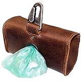 Hide & Drink, Durable Extra Large Leather Dog Poop Bag Dispenser, Fits Extra Bag Rolls, Treats or Keys, Dog Walker Essentials, Brass Metal Clip, Handmade :: Bourbon Brown