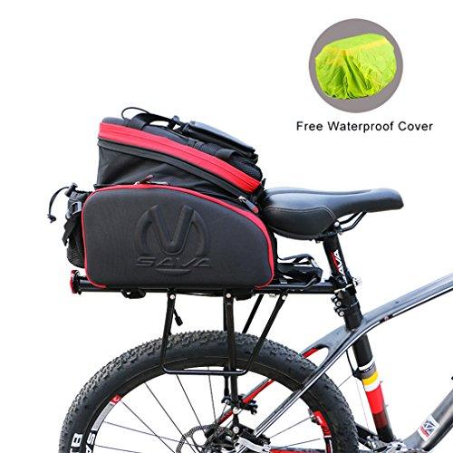 SAVA Bicicletta Della Bici Cornice Rack Pacchetto Multifunzionale Pacco Zaino per Ciclismo Bici Borsa Posteriore per MTB (Nero & Rosso)