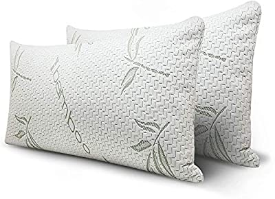 Mutlu Home Goods Queen Size Shredded Memory Foam Adjustable Pillow with Hypoallergenic, Washable Bamboo Rayon Zipper Cover, 2 Pack