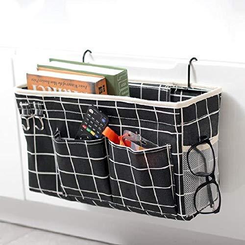 QQDL Bedside Pocket,Bedside Storage Pocket,Bedside Caddy Pocket,With Hook,canvas,Felt Bed Hanging Storage/Organizer,Desktop Storage Rack,for Bunk Beds Or Sofa,Bedroom,Living Room,Dorm Room,Sofa,Desk,