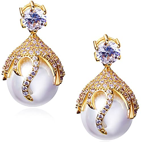CHXISHOP Pendientes para Mujer Pendientes de Flores de Oro Pendientes de Perlas de Moda Pendientes de zircón HIPO, Pendientes de Cristal Redondo de Las Mujeres White