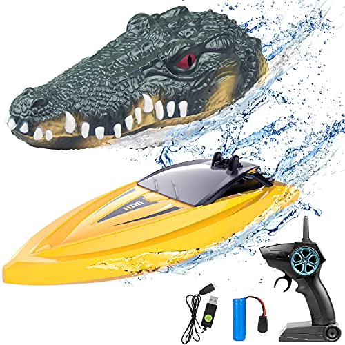 2 in 1 RC Boat for Kids, 2.4G Crocodile Remote Control Boat for Pools and Lakes Pond Garden Mini Yellow Speed Electric Floating Toys Boat with Disassembled Simulation Crocodile Head Spoof Toy for Boy