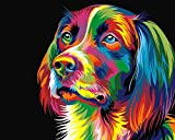 BOSHUN Paint by Numbers Kits with Brushes and Acrylic Pigment DIY Canvas Painting - Colorful Dog 16 x 20 inch(Without Frame)