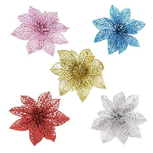 Decoraciones florales del árbol de navidad de Hankyky Hermoso adorno colgante de...
