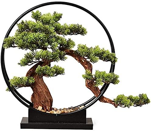 Árboles artificiales de estilo chino New Living Sala de estar Adornos Zen Simulación de árbol, Planta de lavado artificial Pine Bonsai TV TV VERANDA Gabinete Hotel en la decoración del hogar de hierro