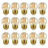 Hcnew G40 E27 LED Retro Edison Bombilla de filamento Mini Globo 1W Bombilla de vidrio ámbar 220V para luces de cadena al aire libre, luces de café, hogar,Súper cálido 2200K -15 Paquete