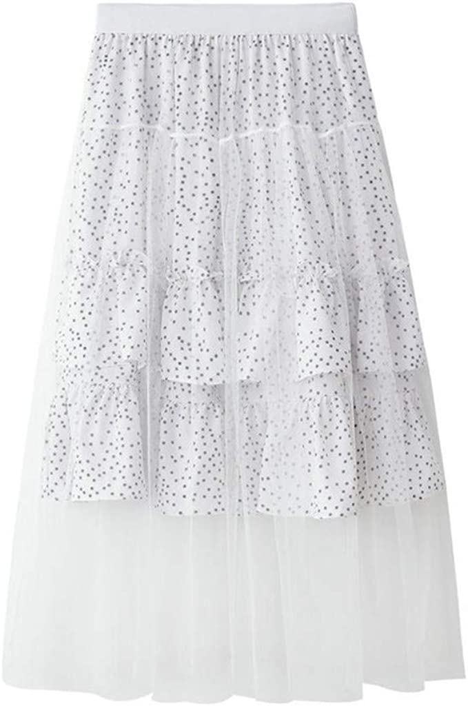 Women High Elastic Waist Chiffon Patchwork Maxi Long Pleated Skirt Beach Casual