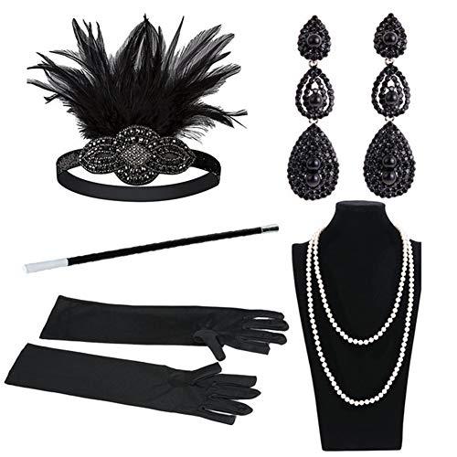 Yuccer Accesorios Anos 20 para Mujer con Vintage Diadema, Collar de Perlas, Pendientes, Guantes Largos, Boquilla (Negro)
