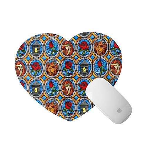 Beauty and Beast Fairytale Glass Mouse Pad with Stitched Edge, Personalized Heart Shape Mousepad Non-Slip Rubber Base Desk Accessories, Office Decor for Computers Laptop