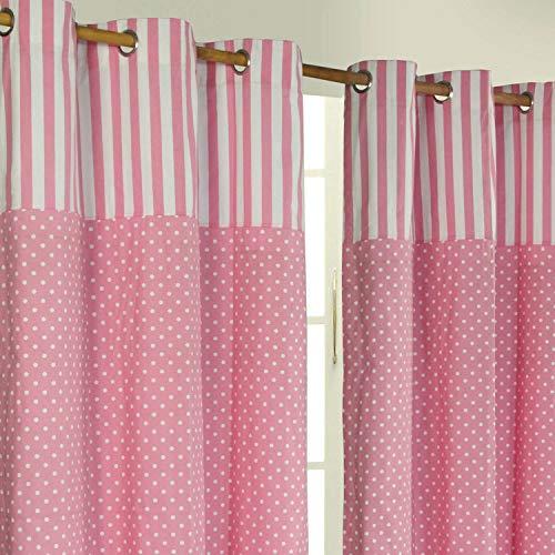 Homescapes Kindervorhang Mädchen Kinderzimmer Ösenvorhang Dekoschal Polka Dots 2er Set rosa weiß 137 x 182 cm (Breite x Länge je Vorhang) 100% Reine Baumwolle