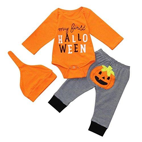 uBabamama My First Halloween 3PCS Letter Print Long Sleeves Romper JumpsuitPumpkin Stripe Pants Hats Newborn Baby Set ClothesOrange3 6M