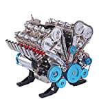 HMANE V8 Engine Model Kits for Adults, 500+Pcs 1:3 Metal Mechanical Engine Model DIY Assembly Engine Model Toys Physics Toy Gifts