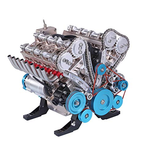 Yamix DIY V8 Engine Model, 500+Pieces Metal Mechanical Engine Science Experiment Toy