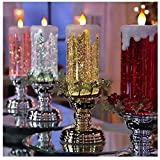 LED Flameless Glitter Candle - Color Changing LED Water Candle with Glitter, Rechargeable Christmas Candle, Realistic Dancing Flickering Wick, Desk Table Light Lamp Decor Xmas Ornament (Silver)