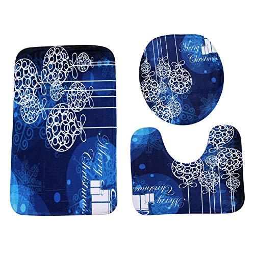 WDDGPZYD WC-Matte 3 Pcs Bleu Boule De Noël Antidérapant Tapis De Toilette Tapis De Salle De Bains Tapis De Toilette pour Trois Ensembles De Tapis De Bain Décor À La Maison