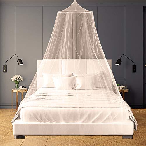 SZHTFX Weißes Moskitonetz für Betthimmel, großes Kuppelbett zum Aufhängen, Zelt für Doppel-/Einzelbett, 12 Meter Abdeckung, ideal für Zuhause oder Urlaub
