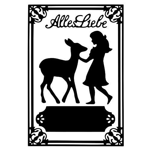 Stanzschablonen, Mädchen mit Kitz & Alles Liebe, versch. Größen, passend für gängige Stanzmaschinen   Schablone zum Gestalten von Grußkarten, Einlegern   Geburtstag
