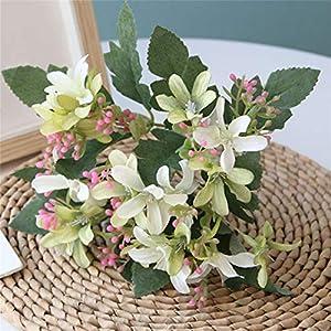 RUJFISH 2PCS Artificial Silk Narcissus Flower Bundles Fake Plants Bushes Faux Floral Bouquets Table Centerpieces Arrangements Wedding Home Kitchen Office Outdoor Decor