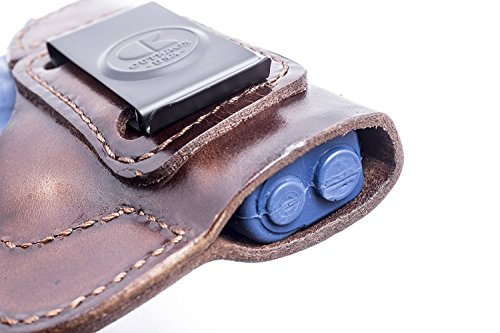 OUTBAGS USA LS2XDS33 (Brown-Right) Full Grain Heavy Leather IWB Conceal Carry Gun Holster for Springfield Armory XDs 3.3