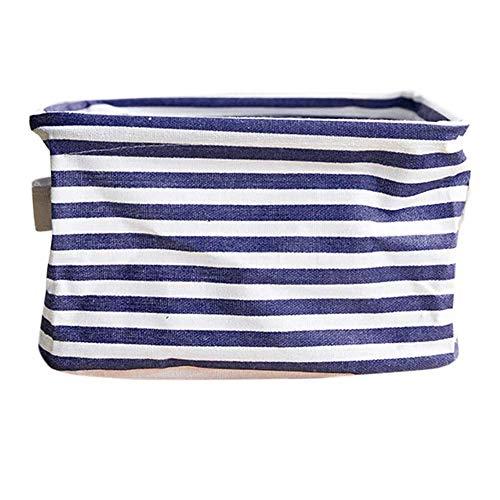 XXLYY Caja de almacenamiento plegable impermeable para juguetes, cesta organizadora de tela con asa duradera, lino (20 x 15 x 13 cm) (azul)