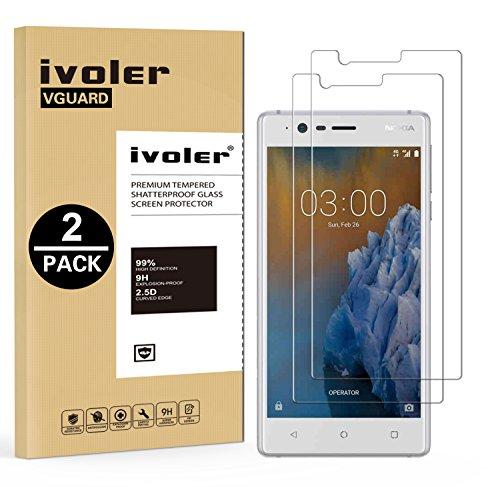 ivoler [2 Unidades] Protector de Pantalla para Nokia 3 2017, Cristal Vidrio Templado Premium