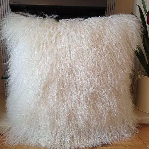 JINDENG Funda de cojín de piel de cordero largo de piel de oveja mongola, 40 x 40 cm, color blanco natural (40 x 40 cm)