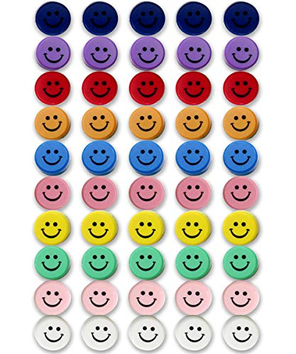 Qualsen Office Magnets 50 Pack, Heavy Duty Round Refrigerator Whiteboard Locker Magnets (Smile)