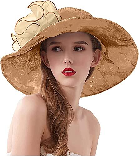 QAZW Ocio de Verano para Mujer Versión Coreana del Color Sólido árbol de Playa Arco de Flores Sombrero para El Sol Sombrero de Malla Plegable,Khaki