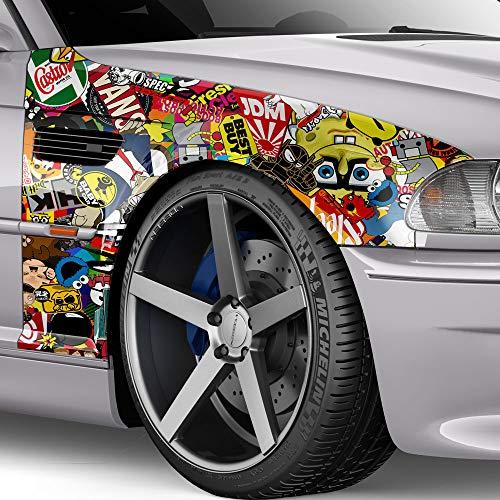 100x150cm Stickerbomb Auto Folie Glanz - Sticker Logo Bomb - JDM Aufkleber - Design: Sponge