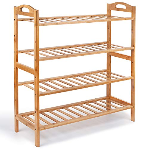 Bamboo 4-Tier Shoe Rack, Shoe Shelf Storage Organizer for Entryway Hallway Bathroom for Boots Heels Bag, Natural