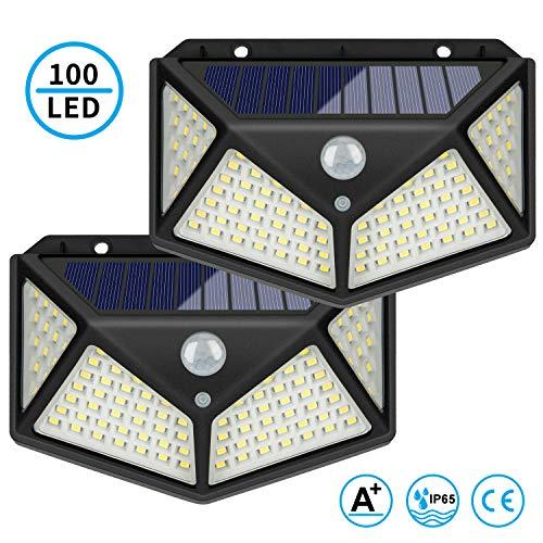 2 piezas de Luz Solar Exterior 100 LED Lámpara solar LED para exteriores, luces solares para jardín con sensor de movimiento, lámparas solares para paredes de patio con jardín