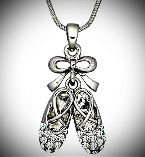 Beautiful Ballerina Dancer Ballet Shoe Clear Crystal Pendant Statement Chunky Rhinestone Necklace for Women Boxed
