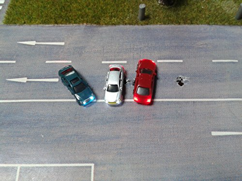 3 Stück Modellauto beleuchtet LED zu Spur N