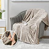Heated Throw Blanket w/ Foot Pocket Keeps Toes Toasty   UL Certified & Low EMF Radiation   Lower Power Bill & Relieve Sore Muscles/Joints – Tucked Power Cord – 3 Heat Settings, 50x62' Brown