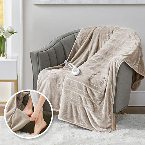 Heated Throw Blanket w/ Foot Pocket Keeps Toes Toasty | UL Certified & Low EMF Radiation | Lower...
