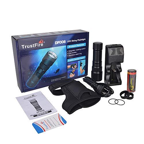 TrustFire DF008 KIT Tauchlampe Professionell Unterwasser Taschenlampe 700 Lumen mit CREE XM-L2 LED, Wasserdicht IPX8 und 3 Modi für Taucher - 1 X 26650 Akku, 1 X Ladegerät, 1 X Handschuhe enthalten