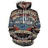 Harley Davidson - Sudadera con capucha unisex de manga larga con capucha y bolsillo