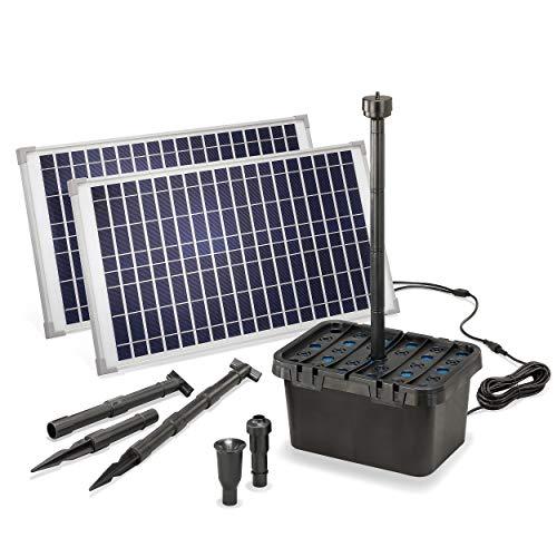 Solar Teichfilter Komplettset Professional - 1700 l/h Förderleistung + 2 x 25 W Solarmodul - Komplettset für Gartenteiche bis 5.000l - dekoratives Wasserspiel - Teichpumpe Solarpumpe esotec 100904