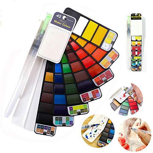 Set di pittura ad acquerello pieghevole 42 colori con 1 pennello penna e tavolozza, portatile da viaggio kit per pittura ad acquerello solido regalo, forniture per pittura all'aperto