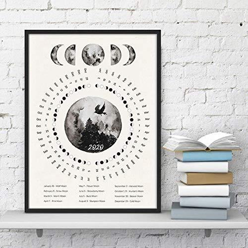FA LEMON 2020 Mondphasen Kalender Leinwand Wandkunst Poster Drucken Malerei Bild Home Decor-50x70cmx1 pcs no Frame